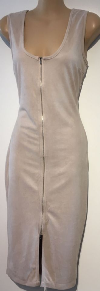 MISSGUIDED NUDE ZIP FRONT PENCIL ZIP FRONT DRESS BNWT SIZE 10